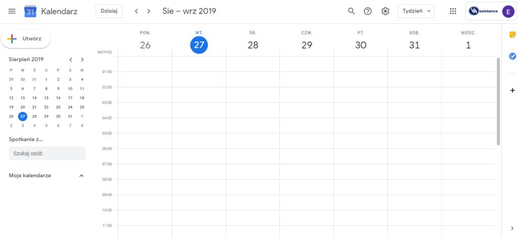 google calendar narzędzia dla wirtualnej asystentki