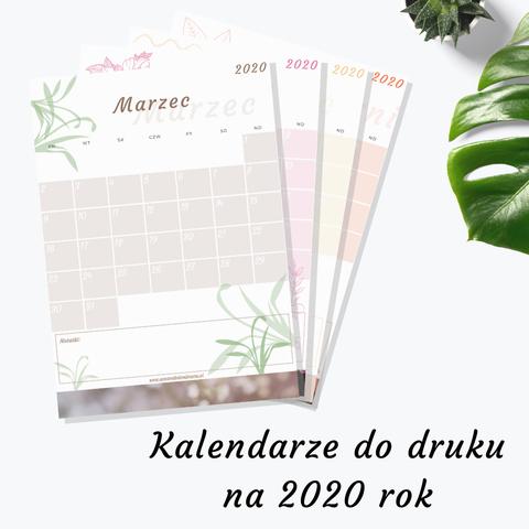 Kalendarze do druku na 2020